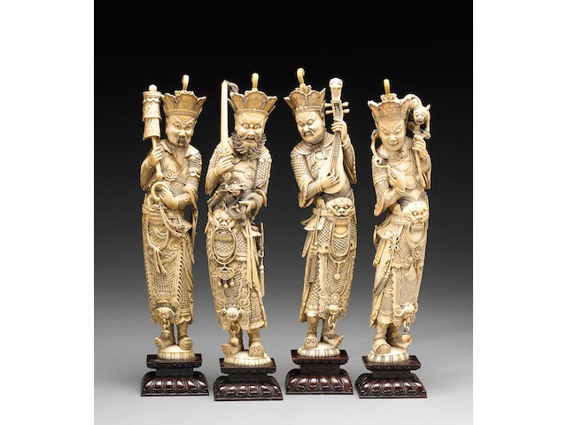 A set of four carved ivory Daoist guardian figures 19th Century