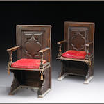 Three Italian Baroque style walnut hall chairs