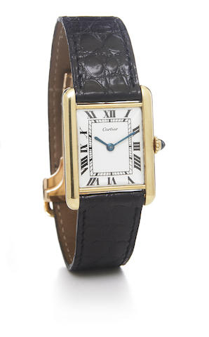 Cartier, London. An 18k gold rectangular wristwatch with 18k gold deployant buckleTank, No.1460, hallmarked London 1973