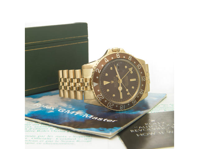 Rolex. A fine 18k gold self-winding dual time-zone bracelet watch with presentation caseOyster Perpetual GMT Master, Ref.1675, Case No.2611114, made in 1969