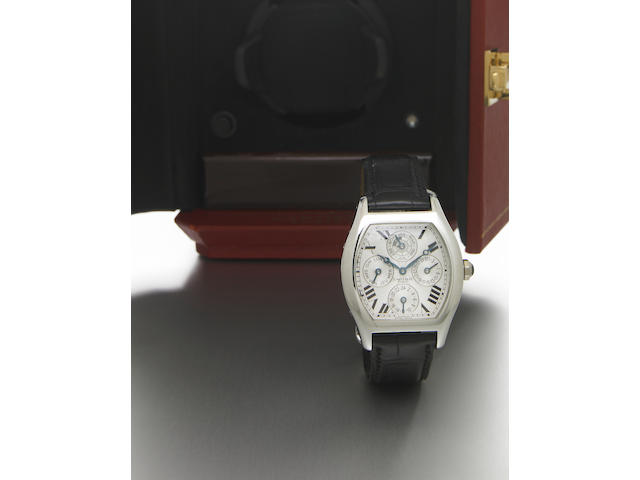 Cartier. A fine and rare platinum special-edition tonneau-shape dual time-zone perpetual calendar wristwatch with leap year indicator Tortue Quantieme Perpetual, Privee Collection, No.  made circa 2004