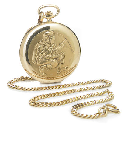 Patek Philippe, retailed by Gubelin. A fine 18k gold limited series hunting cased pocket watch with associated 18k gold chain William Tell No.898, Movement No.932'781, Case No.544'128, made in 1979