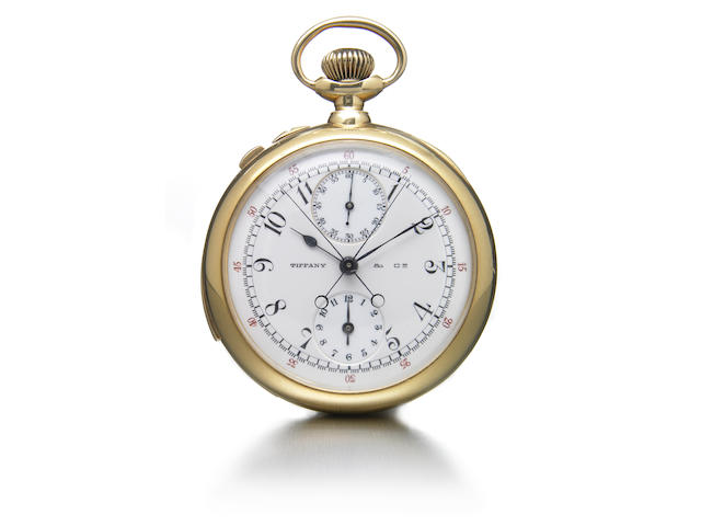 Patek Philippe, made for Tiffany & Co., A fine and very rare open face minute repeating split-second chronograph pocket watch with 60 minute and 12 hour registers in Tiffany & Co 18k gold case Movement No.112'205, made in 1901, sold on August 25, 1902