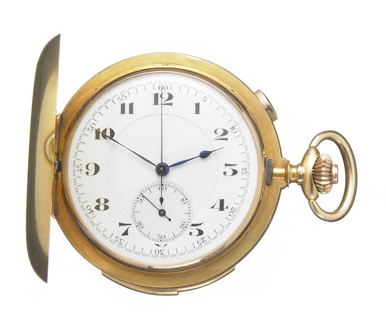 Swiss. An 18k gold minute repeatign chronograph pocket watch in full hunter case  No.46318, made circa 1907