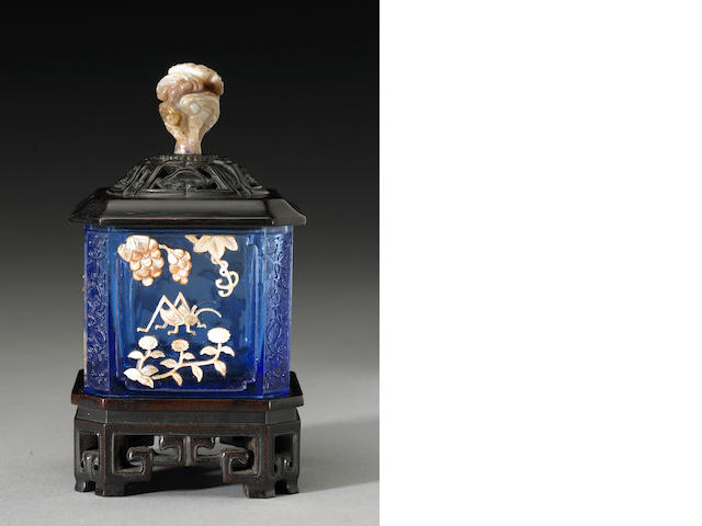 A carved blue Peking glass water coupe with mother-of-pearl overlay decoration, Late Qing Dynasty, T