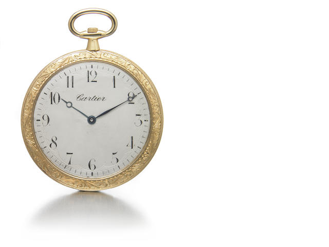 Cartier. A an 18k gold ultra-slim dress pocket watch with engraved case  No.3886,246,.6256., circa 1910