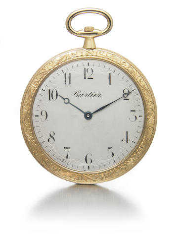 Cartier. A an 18k gold ultra-slim dress pocket watch with engraved case  No.3886,246,.6256., circa 1910