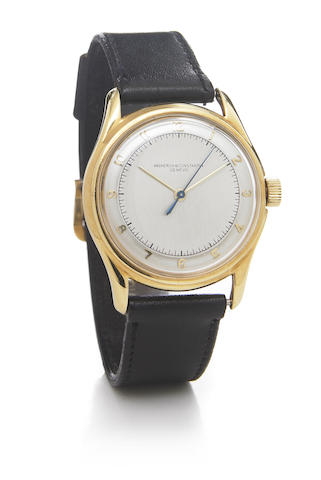 Vacheron & Constantin. An 18k gold wristwatch with two-tone dial and screw-down reverse Movement No.451181, made circa 1944