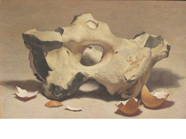 Eliot Hodgkin (British, 1905-1987) Flynt and eggshells 7 3/4 x 11 1/2in