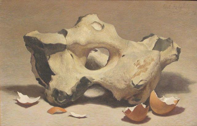 Eliot Hodgkin (British, 1905-1987) Flynt and eggshells 7 3/4 x 11 1/2in