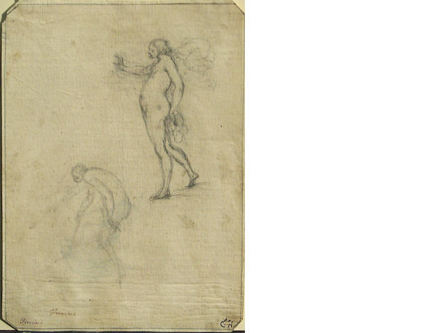 Francesco Furini, Italy 17th Cent., Two Women, pencil on beige and white paper