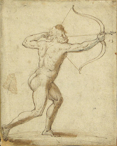 Dutch School 16th Cent., Archer, brown ink and wash