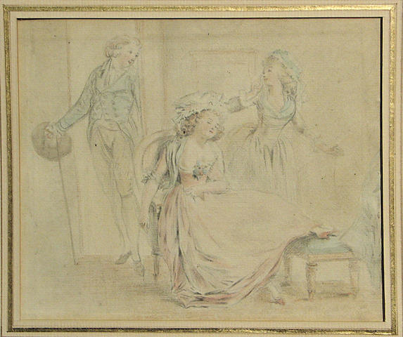 French School 18th Cent., Two ladies with a male visator, black chalk and watercolor