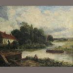 Follower of John Constable, R.A. (British, 1776-1837) A river landscape with figures 25 1/4 x 30 1/4in