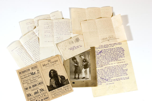 A Mack Swain group of letters and photographs, 1914