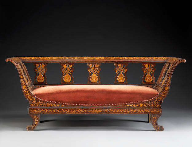 A Dutch Neoclassical inlaid settee