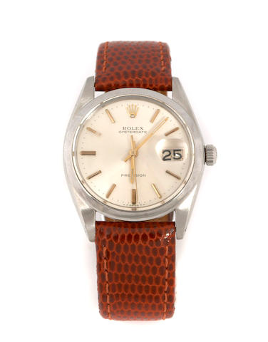 A stainless steel Rolex calendar wristwatch OysterDate precision, Ref.6694, 1960s