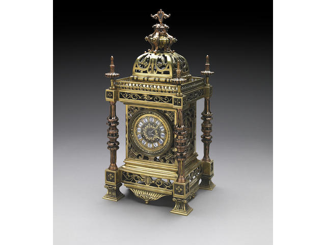 A French Renaissance Revival gilt brass mantel clock