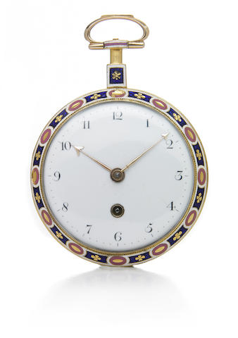 Allam & Clements, London. A gold and enamel open face key-wind pocket watch No.2371, made circa 1780