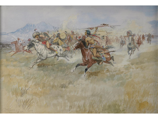 Charles Marion Russell (American, 1864-1926) The Battle between the Blackfeet and the Piegans, 1897 14 3/4 x 21 1/4in