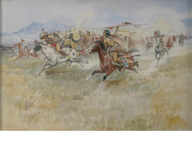 Charles Marion Russell (American, 1864-1926) The Battle between the Blackfeet and the Piegans, 1897