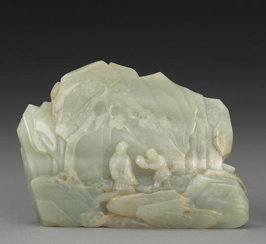 A pale grey-green jade miniature mountain 18th/19th Century