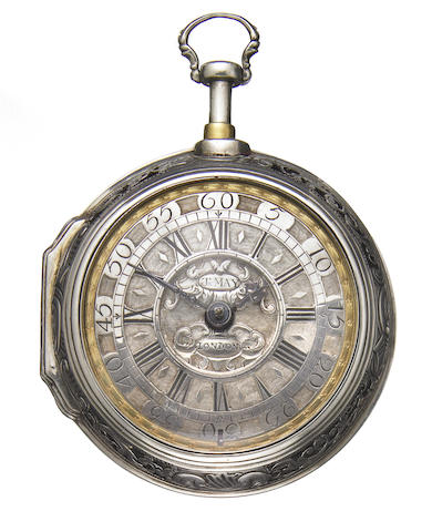 John May, London. A fine quarter repeating pierced silver pair cased pocket watch   Made circa 1760