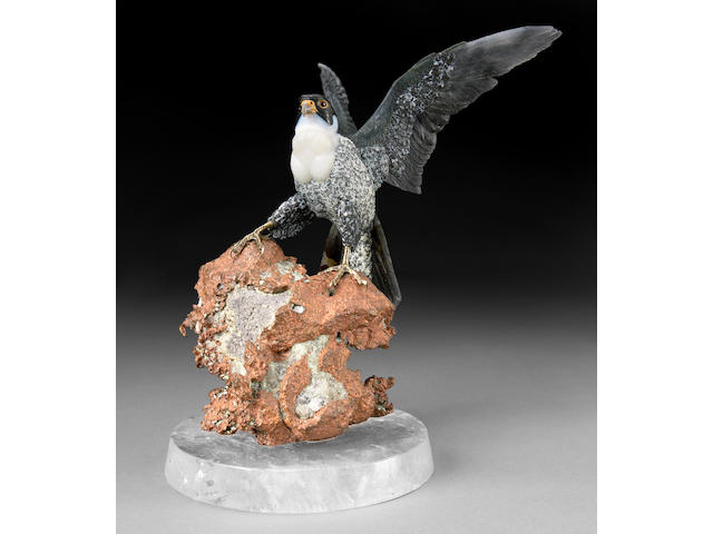 Carved Agate Falcon on Native Copper Base