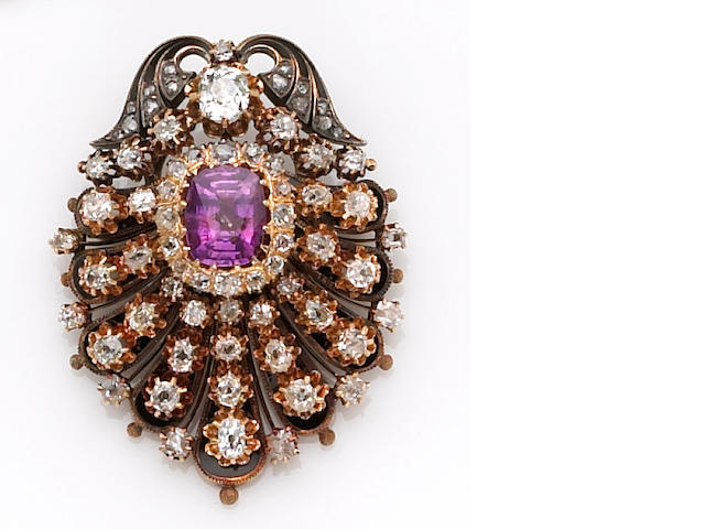 An antique purple sapphire, diamond and gold brooch,