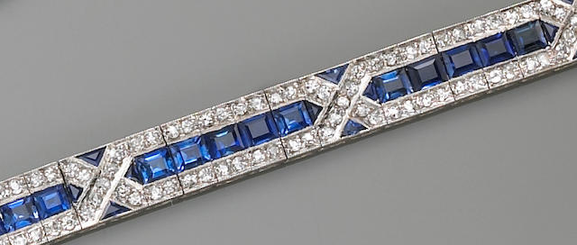 An art deco sapphire and diamond bracelet