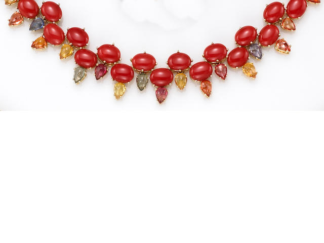 A coral and multi-color sapphire necklace, Nardi