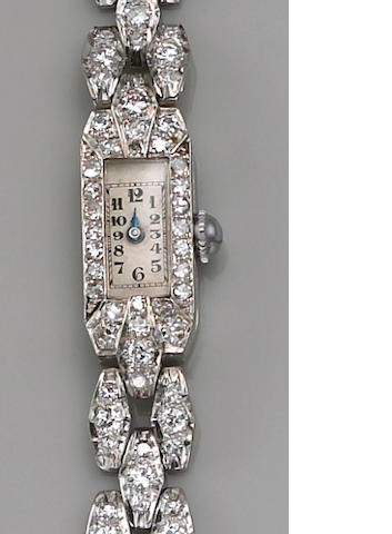 An art deco diamond integral bracelet wristwatch, Swiss