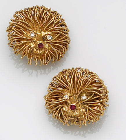 A pair of diamond and ruby clip-earrings, LaLaounis