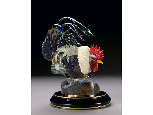 Fantastic Carved Opal Rooster