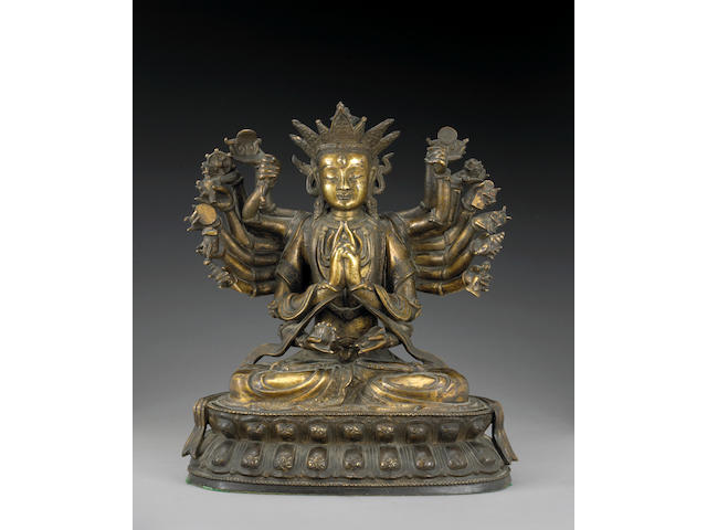 A fine gilt bronze figure of Dou Mu 17th/18th Century