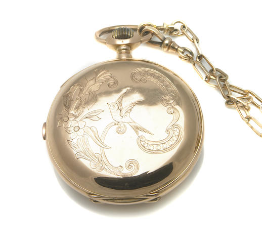 Swiss. An 18k gold hunting cased quarter repeating pocket watch with gold chain  Late 19th century