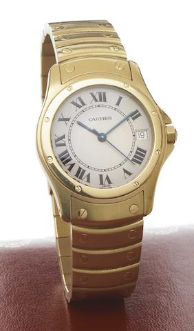 Cartier. An 18k gold self-winding calendar bracelet watchCougar, Ref.1900-1, 1990s