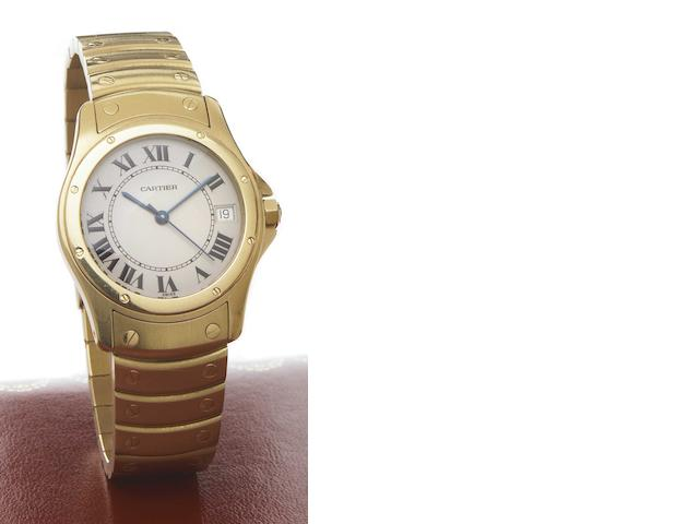 Cartier. An 18k gold self-winding calendar bracelet watch Cougar, Ref.1900-1, 1990s