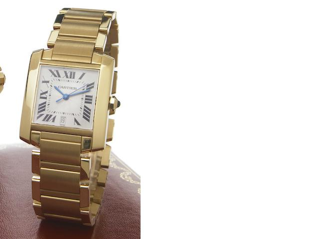 Cartier. An 18k gold self-winding calendar bracelet watch Francaise, Ref.1840, sold in 1997