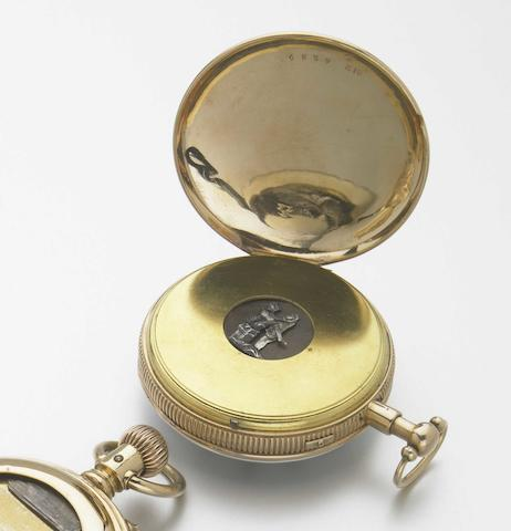 Swiss. An 18k gold open face key-wind quarter repeating pocket watch with later erotic automation  C