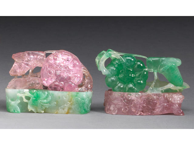 A pair of small jadeite and tourmaline carvings Republican Period