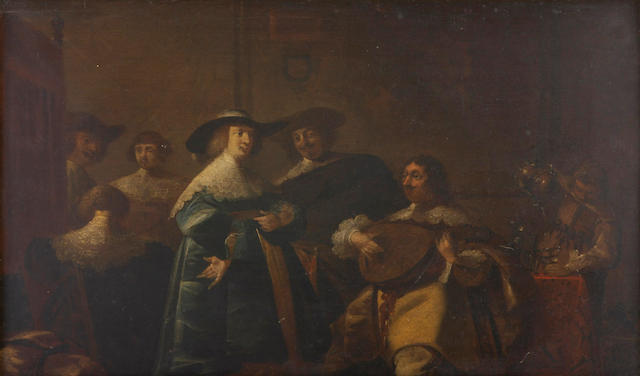 Follower of Pieter Jacobsz. Codde (Amsterdam 1599-1678) The mandolin player 12 3/4 x 21in