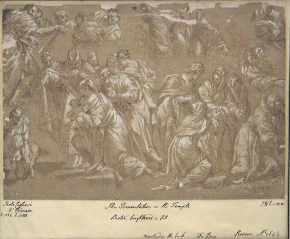 After Paolo Veronese The presentation in the temple 7 3/4 x 12in