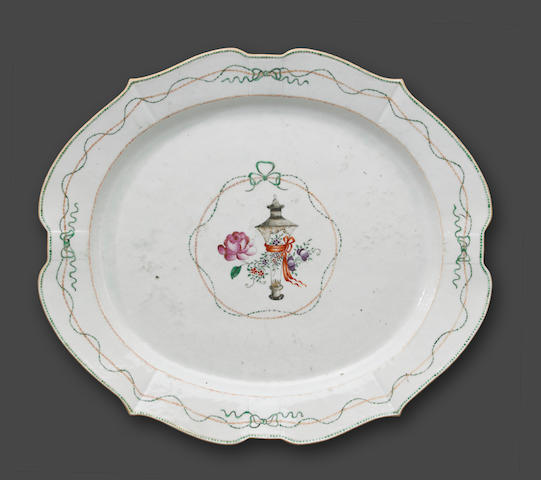 A large famille rose enameled export porcelain oval platter Late 18th Century