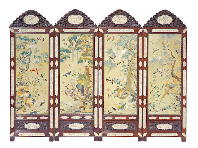 A fine export style ivory-inlaid hongmu four-panel floor screen Circa 1870