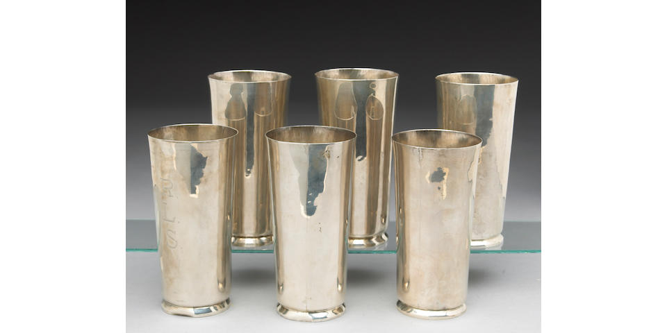 Mexican Set of Six Silver Footed Tall Tumblers by William Spratling