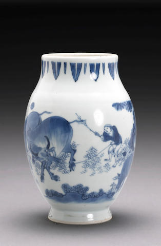 A blue and white porcelain jar Transitional Period