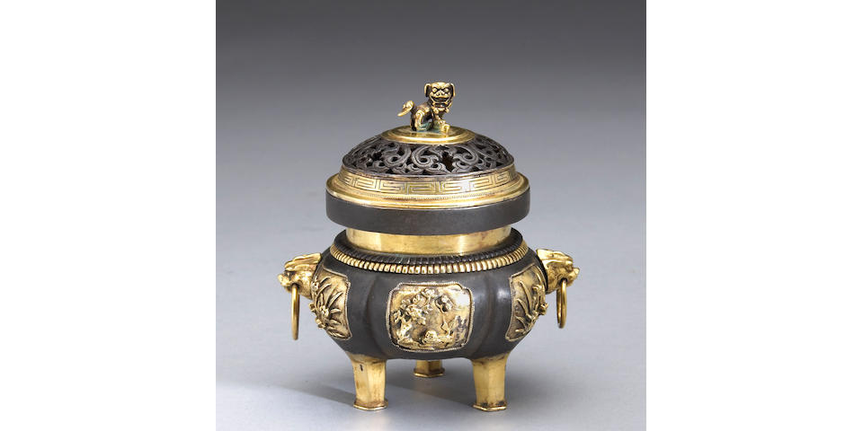 A parcel-gilt metal covered censer 20th century