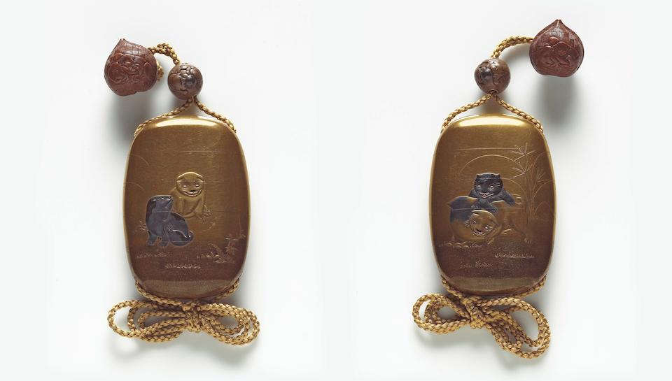 A gold lacquer four-case inro By Koryu(sai), 19th Century