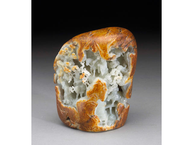 A contemporary carved nephrite boulder